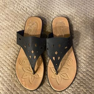 BOC leather sandals with cushion footbed